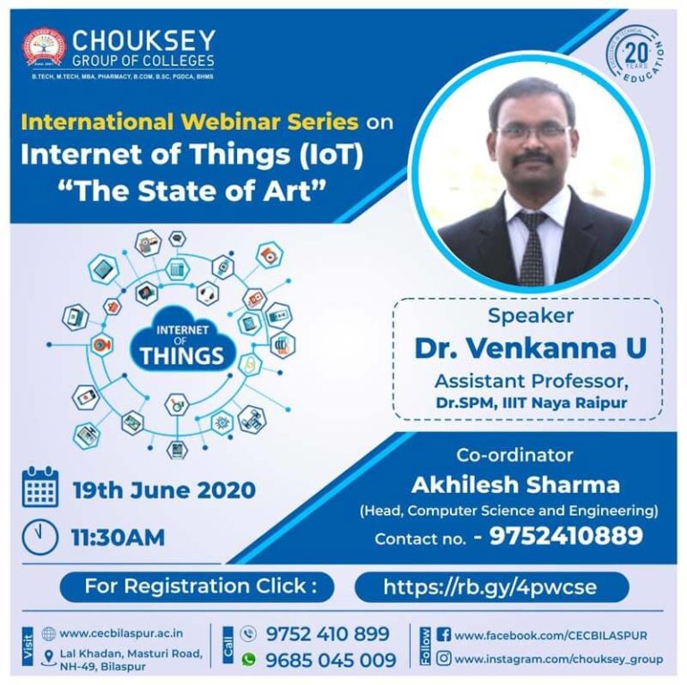 International Webinar Series on Internet of Things IoT The State of Art